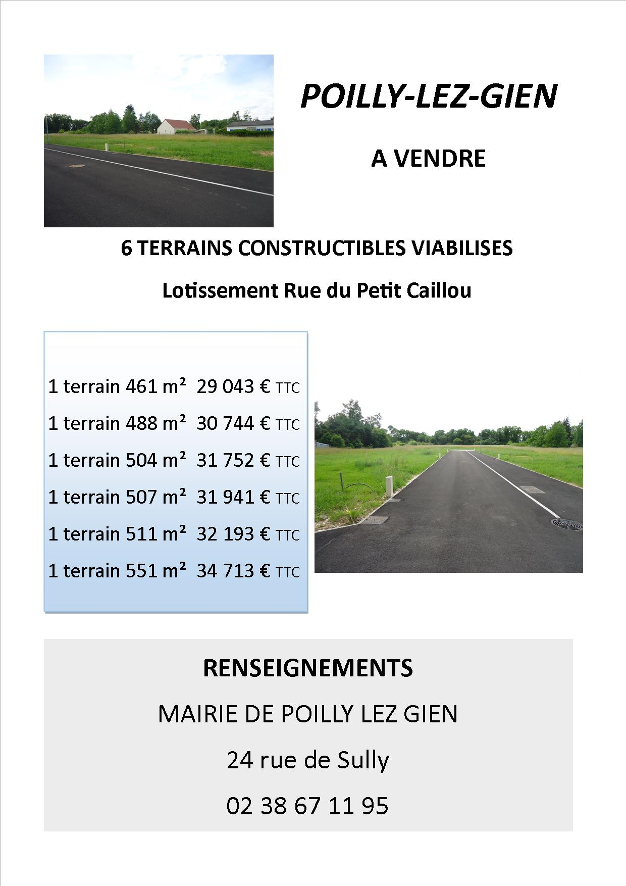 Annonce vente terrains poilly 2018